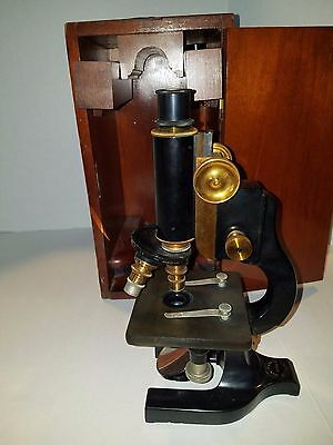 Spencer Lens Co Antique Brass & Black Microscope in Original Wood Box