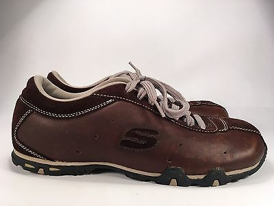 Skechers Brown Leather Casual Sneakers Men's Sz 9 Lace Up