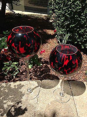 1 Pair, New Glass Stem Vases or Art Glass, Black & Red, Contemporary!