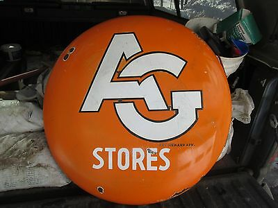 Early Original Associated Grocers Porcelain Button Sign 30""