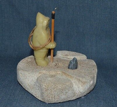 Grenfell Hand Made Carved Inuit Standing On Whale Bone Hooking A Seal