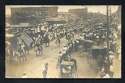 RPPC Flag parade Indian patriotic Lawton OKLAHOMA Comanche County photo postcard