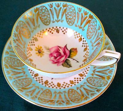 Royal Stafford Exquisite Light Turquoise Rich Gilding Elegant Rose Cup & Saucer