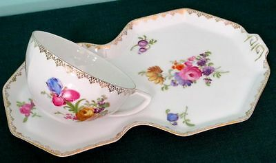 Antique Art Deco Victoria Czechoslovakia Hand Painted China Cup & Lunch Plate