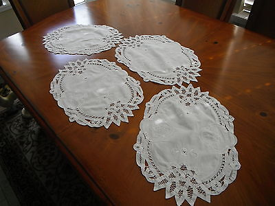 """4 Battenburg Lace Table Placemats Doily White Oval Wedding 18"""" x 12"""""""