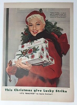 Original Print Ad 1954 LUCKY STRIKE Cigarettes It's Toasted Ann Sothern