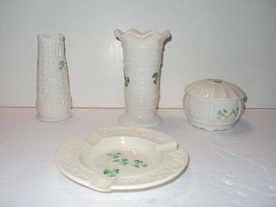Vintage 4 Pieces of Belleek Irish China Small Vases,Trinket Box & Ash Tray a
