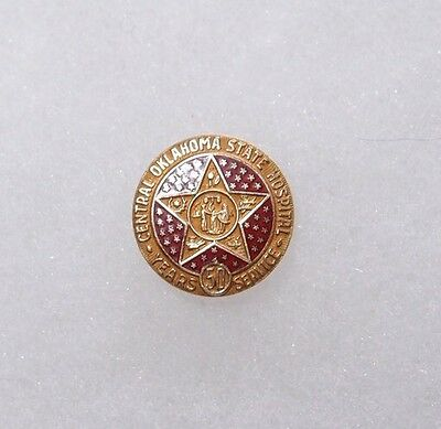 1940 10K Oklahoma State Hospital 50 Year Service Pin Norman Milledgeville Mental