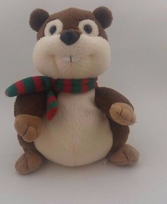 Ty Yule Beaver Stuffed Animal Plush Beanie Babies Green and Red Scarf 5""