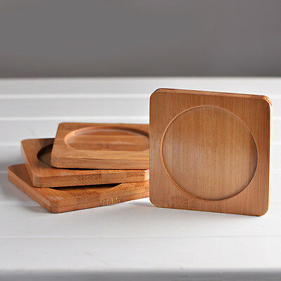 Hot 1Pc Practical Square Wooden Bamboo Drinks Coasters Glass Drink Mat 10*10cm