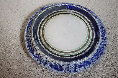 Antique Crockery Stoneware Lid or Base, with Raised Blue Trim