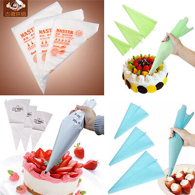3Size Silicone Plastic Disposable Pastry Bag Icing Piping Cake Cupcake Decor Bag