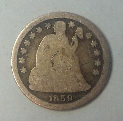 "1859 O Liberty Seated Dime 90 % Silver US Coin  M123 ""TUCK"""