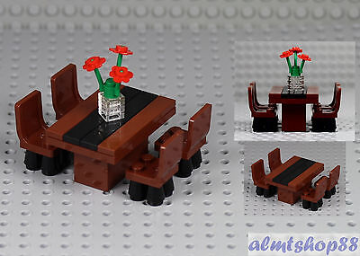 Lego Formal Dining Table W 4 Chairs Flowers Minifigure Home