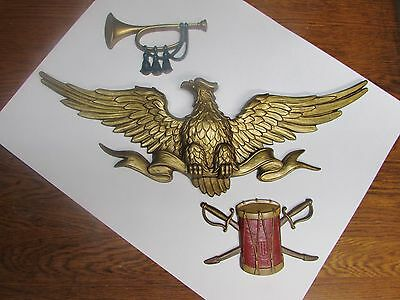 Vintage Sexton 1971 Usa 599 10 Metal American Eagle Wall Plaque + Bugle & Drum