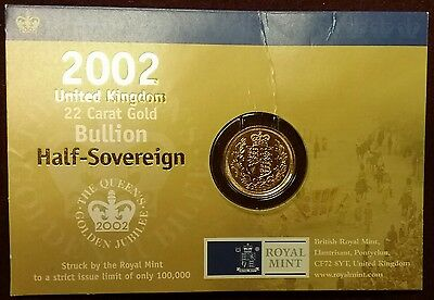 2002 GREAT BRITAIN UK Half Sovereign Shield Back GOLD Coin QE Jubilee Assay Card