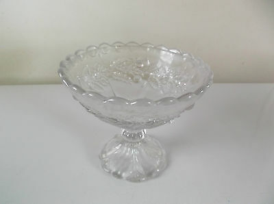 Vintage Glass Scotch Thistle Design Bowl On Stand