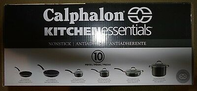 Kitchen Cookware Set Nonstick 10 Piece Hard Anodized Aluminum Glass Covers New