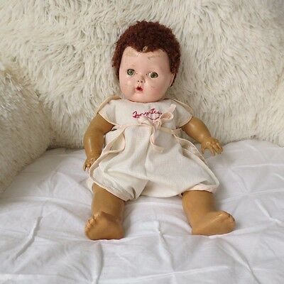 Vntg AMERICAN CHARACTER TINY TEARS DOLL CARACUL WIG RUBBER BODY TLC Orig Romper