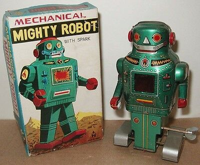 1950s-60s TIN SPACE TOY Wind-Up MIGHTY ROBOT~NICE w/BOX!~Noguchi JAPAN