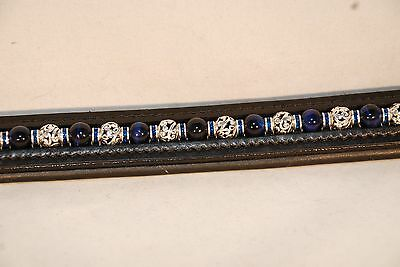 "16"" Blk. Leather Browband w/XL loops w/Blue Tigers Eye and Capri Blue rondells"