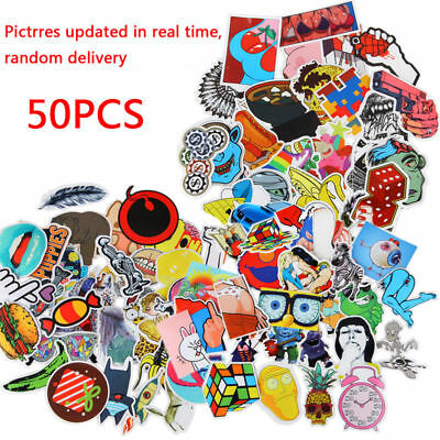50pc Random Vinyl Skateboard Guitar Travel Case Stickers pack decal sticker