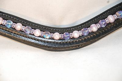 "16"" (Full/Horse) Black U-Shape Browband w/Lilac Pearls &Violet Crystals"