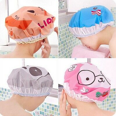 2PCS Pro Animal Frog Duck Shower Cap Elastic Bath Hat Hair Protector Travel SW