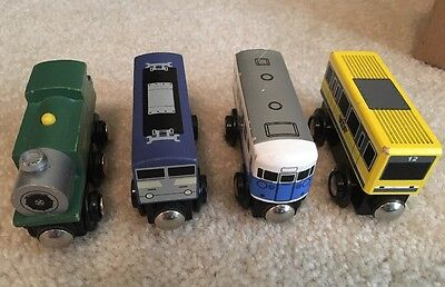 Lot Of 4 Wooden Magnetic Trains