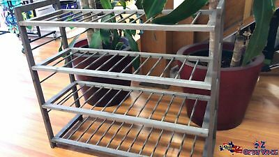 2x 4 Tiers Wooden Stand Shoe Rack Storage Organizer Shoes Shelves Brown FU003484