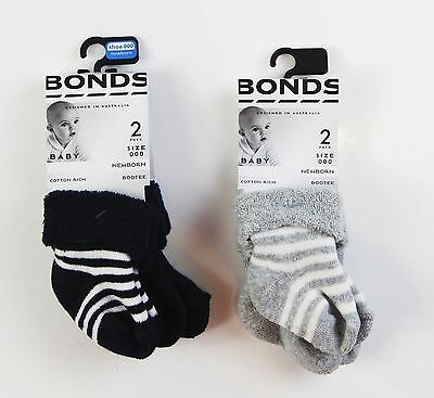 Bonds Baby Newborn Cotton Rich 2 Pack Bootee Socks Sockettes Navy Grey Stripe