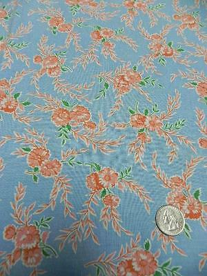 Vintage FEEDSACK FABRIC 31x42 Blue w CORAL FLOWERS quilt doll cloth Cotton z8
