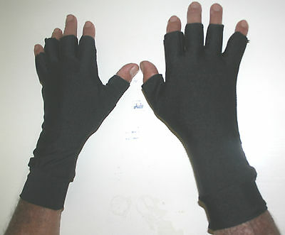 SMALL BLACK Lycra 1/2 Finger Sun Gloves 50+UPF Protection Sports fishing,golf
