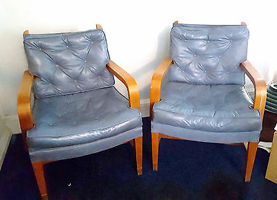 Pair of Vintage Mid Century Blue Vinyl Lounge Arm Chairs