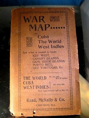 Very Rare War Map for Cuba the World West Indies not dated but old Rand McNally
