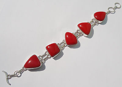 Sale ! Beautiful Coral Gemstone 925 Sterling Silver Overlay Latest Bracelet