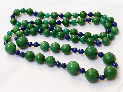 Chinese Vintage Green Jade, Lapis Beads Necklace, No Clasp