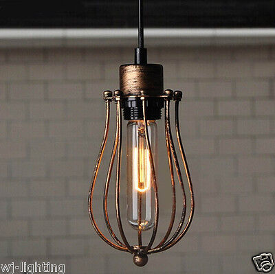 Rustic Vintage Retro Gold Metal Cage Chandelier Pendant Light Ceiling Cafe Lamp