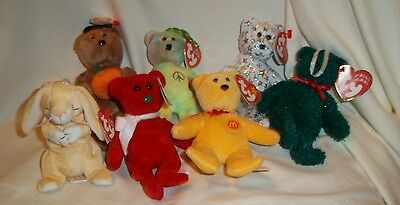 7 TY Jingle Teeny Beanie Lil' Frosts red holiday Bear Ornament Hocus Peace Grace