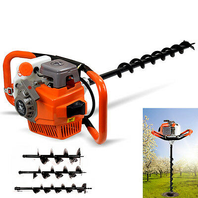 71cc Post Hole Diggers Augers Gasoline Engine+3 Drills Extension Garde Hand Tool