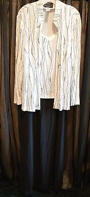 Alex Evening Gown w/ Jacket  Black White w/Silver Mother of the Bride 18W