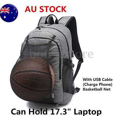 Men Waterproof Laptop Backpack Bag with USB Charging Basketball Net Sport Style