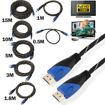 Top Braided HDMI Cable V1.4 AV 3D For PS3 Xbox HDTV 1M - 15M Meters 1080P Lot ES