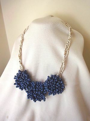 Blue Cluster Wooden Bead Statement Necklace