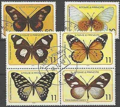 Timbres Papillons St Thomas et Prince 530/5 o lot 18687