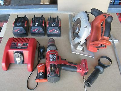 Milwaukee Cordless Circular Saw And Drill V28 + Charger And 3 X Batteries