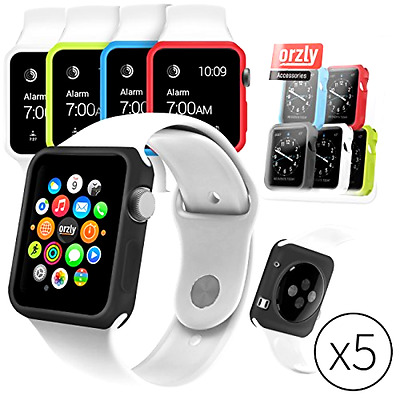 Set of 5 Apple Watch Case Cover 38mm Changeable Silicone iWatch Bumper Protector