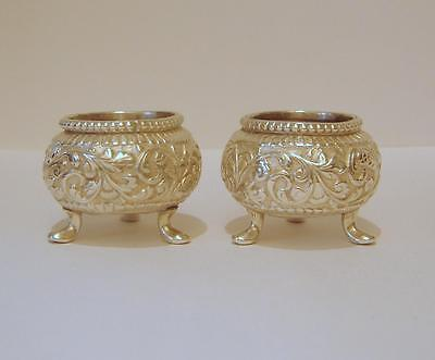 A Pair Of  Ornately Embossed Antique Solid Silver Salt Pots