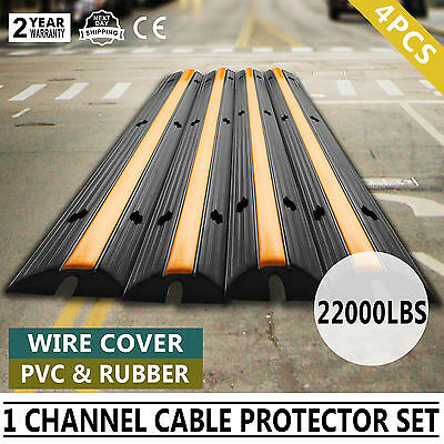 4pcs 1-Channel Rubber Electrical Wire Cover Black Ramp Yellow Lid Single Channel