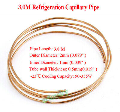 3.0M Length 2mm Dia Copper Tone Refrigeration Capillary Pipe Tubing Coil 3M